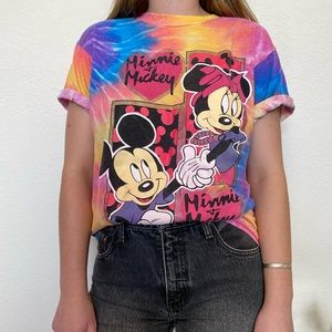 Vintage Mickey and Minnie Tie Dyed Disney Tshirt